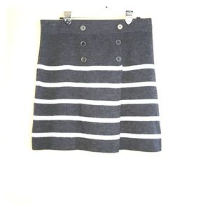 Loft Grey Striped Sailor buttons Mock Wrap Skirt L